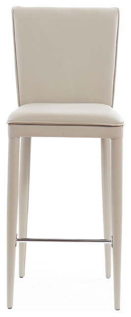 Global Furniture Pu Bar Stools With Stainless Steel Footrest Set Of 2 Taupe