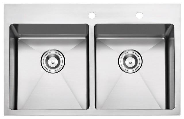 Overmount Stainless Steel Kitchen Sink, 33