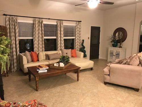Help my living room! I am stuck between design styles, looks cluttered