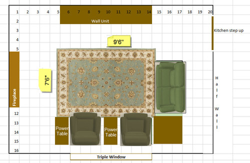 Family room area rug size for Area rug sizes