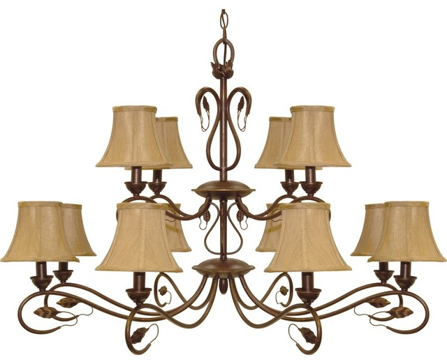 nuvo vine 12 light 38 1 2 chandelier with fabric shades traditional chandeliers by shopfreely. Black Bedroom Furniture Sets. Home Design Ideas