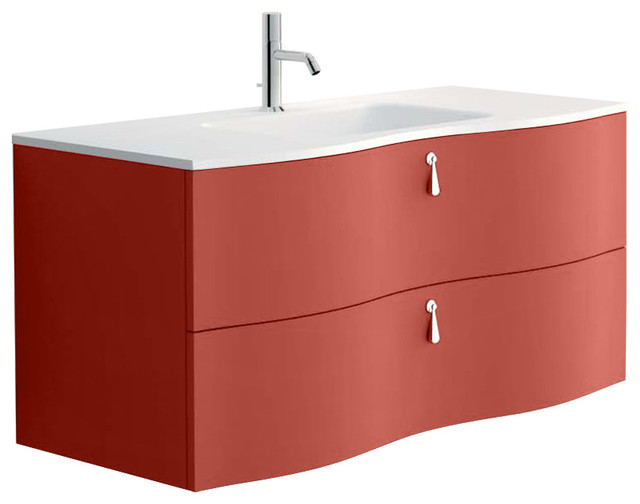 Isa Bagno Galatea 2 Drawer Vanity With Resin Washbasin, Matte Marsala  Lacquer Contemporary