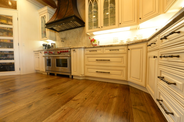 Hand Distressed Hickory Floors Kitchen Traditional