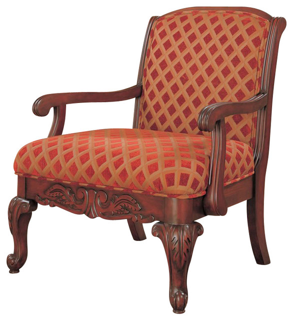 Coaster Cherry Upholstered Chair with Wood Armrests Traditional – Upolstered Chair