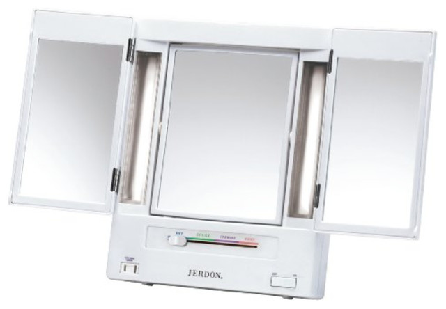 Jerdon Jgl9w Tabletop Tri-Fold Two-Sided Lighted Makeup Mirror With 5x Mag.