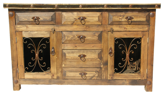 "Rustic Saint Andrew Bathroom Vanity Metal Doors, 48""x20""x32"", Middle Top Drawer."
