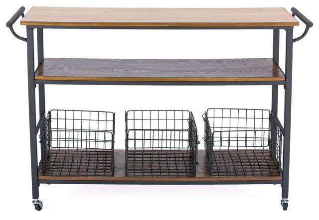 Lancashire Wood And Metal Kitchen Cart