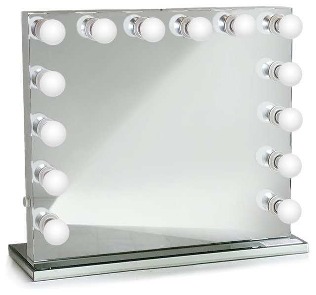 "Hollywood LED Mirror With Mirrored Stand, 31""x25"", 2 Outlets, Dimmable"