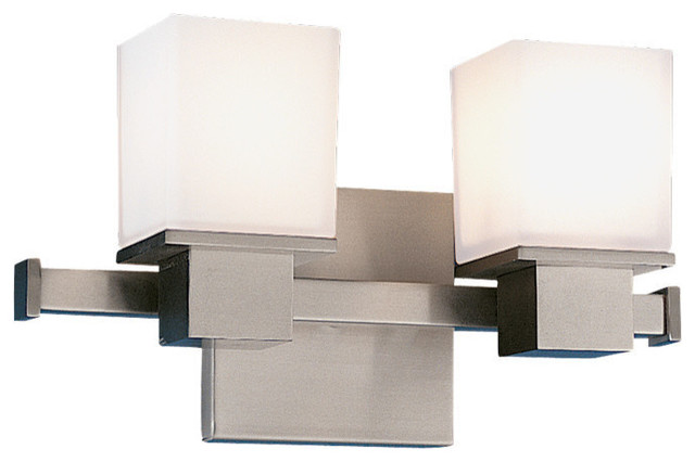 Modern Bathroom Light With White Glass, Satin Nickel Finish.