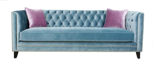 Great Pasargad Victoria Velvet Sofa Collection, Blue