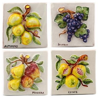 Robbiana, Fruit Square Wall Tiles, 4 Seasons Fruits