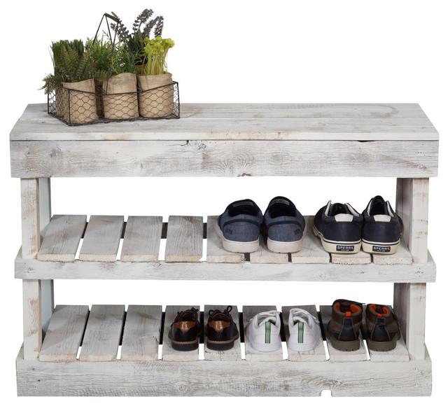 Barnwood Shoe Rack, White
