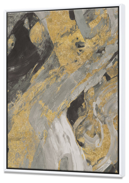 Designart Marble Gold And Black Modern Framed Wall Art Contemporary Prints And Posters By Design Art Usa