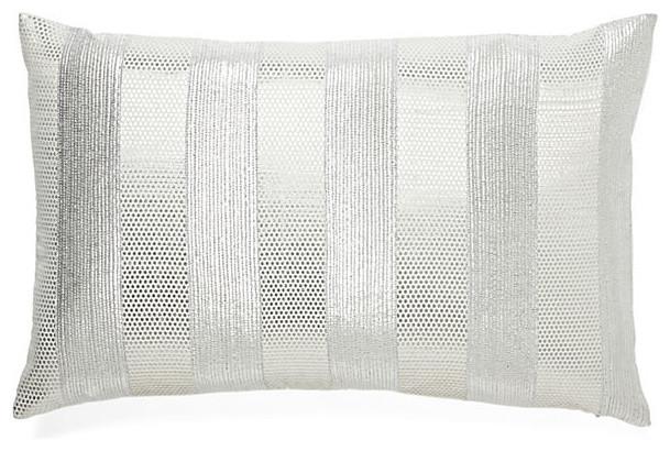 White Silver Shiny Pillow