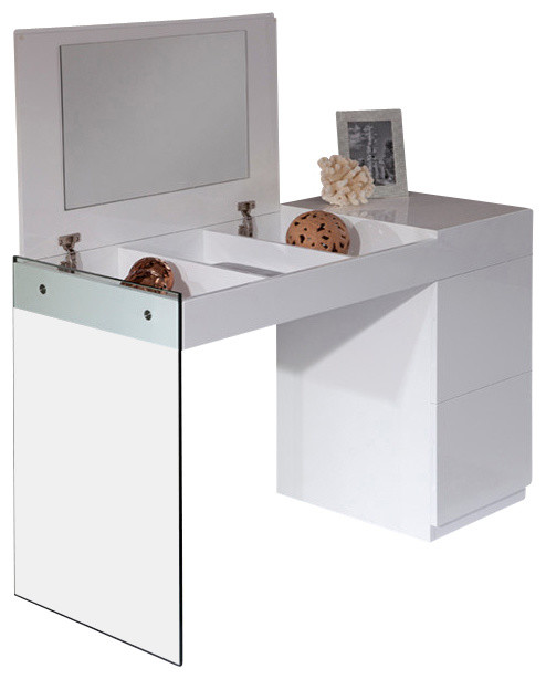 Modern White Dressing Table: Volare Modern White Floating Glass Vanity With Mirror