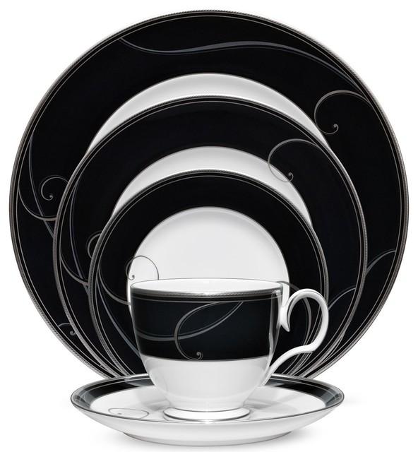 Noritake Platinum Wave Ebony China Set