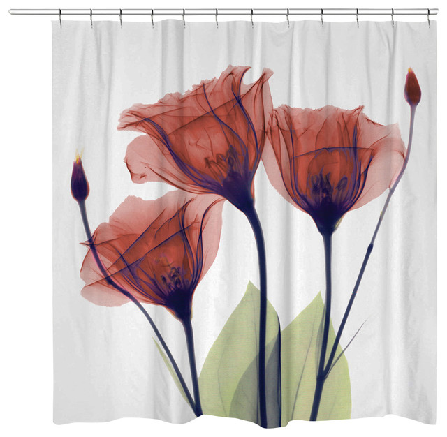 Gentian Shower Curtain Red Contemporary Curtains By