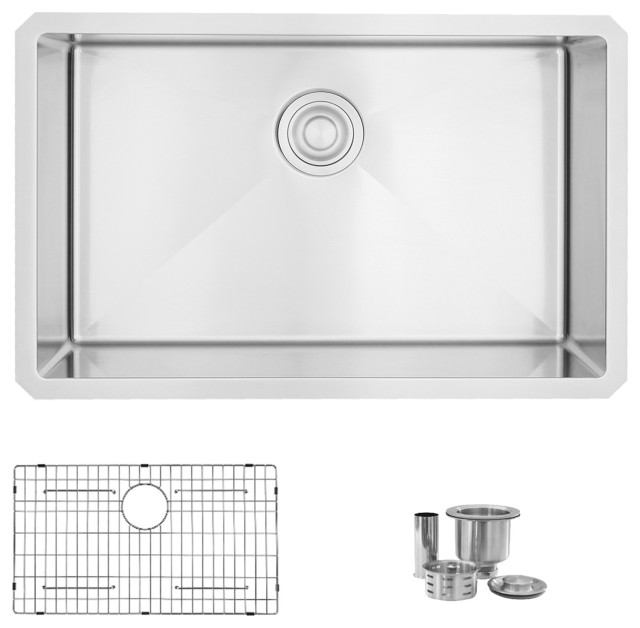 """28""""L x 18""""W Stainless Steel Single Basin Undermount Kitchen Sink with Grid and S"""