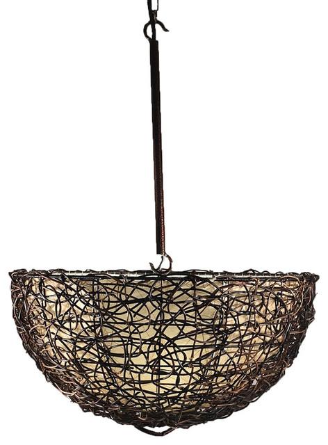 Eangee Home Design Vine And Leaf Inverted Dome Hanging Light Pendant