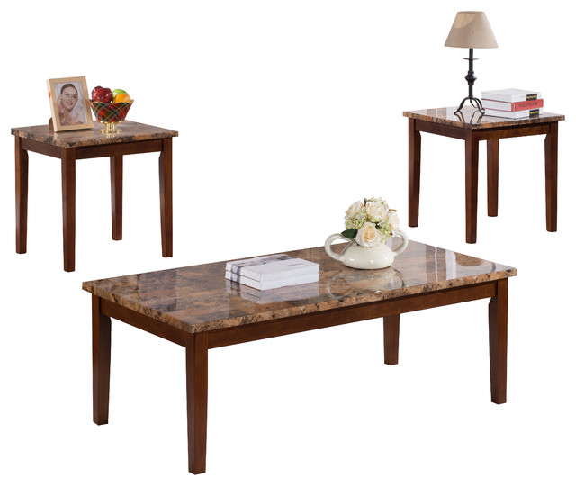 3 Piece Faux Marble Top Occasional Table Set Coffee Table And 2 End Tables Coffee Table Sets