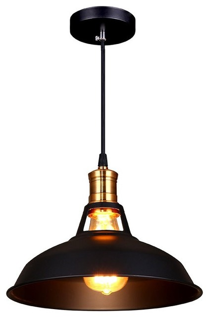 Industrial Edison 1-Light Mini Pendant, Black