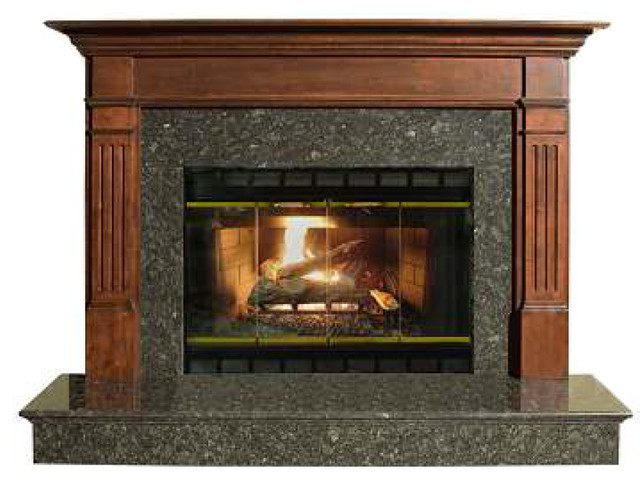 "Stately Cherry Finished 42"" Claremont Fireplace Mantel, Red Cherry."