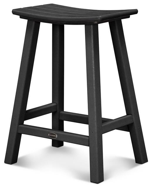 Traditional 24 Saddle Bar Stool Black