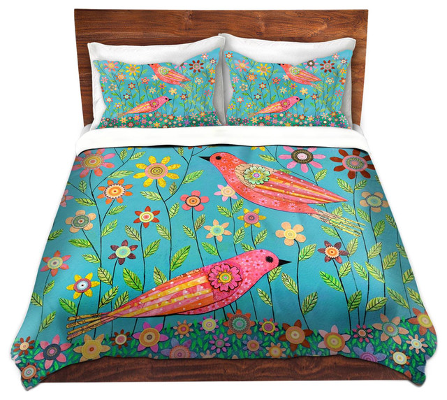 DiaNoche Microfiber Duvet Covers - Bohemian Birds contemporary-duvet-covers -and-duvet