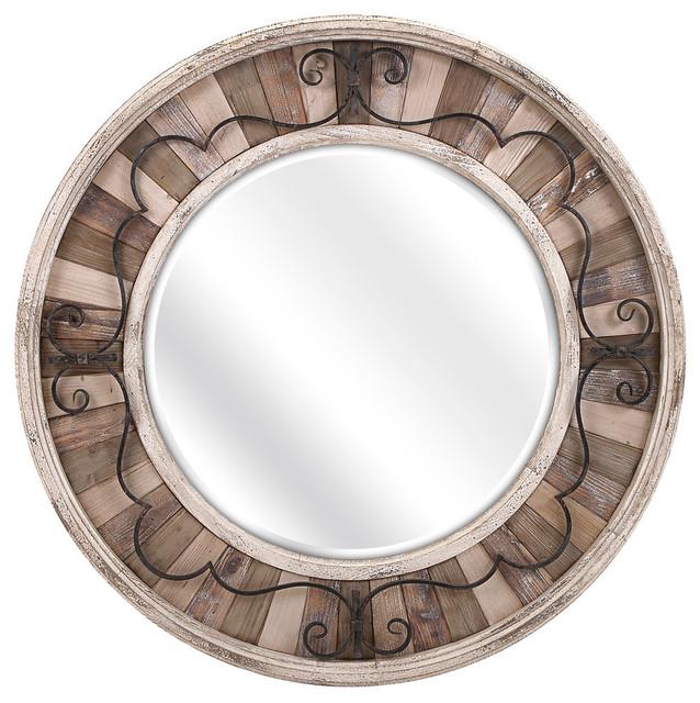 Sylvia Metal And Wood Mirror.