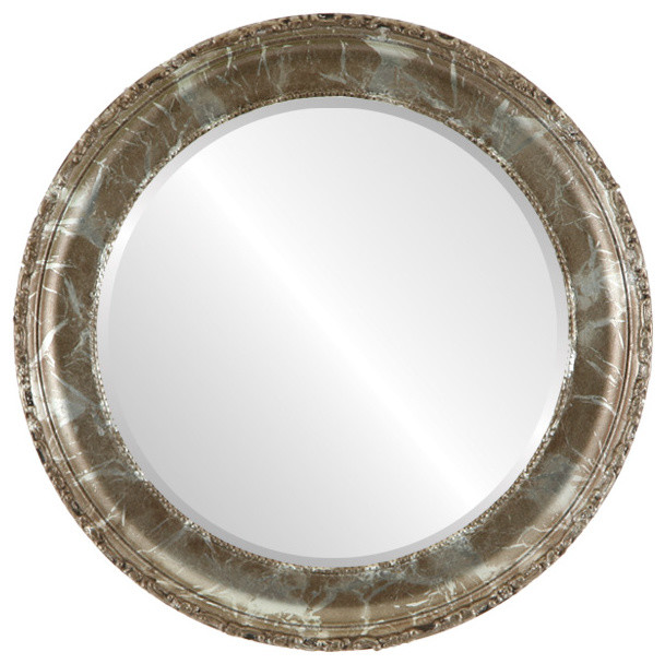 Kensington framed round mirror in champagne silver for Round silver wall mirror