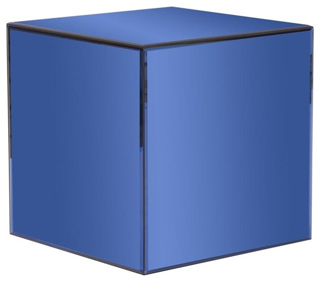Howard Elliott Mirrored Cube Table - Blue Mirrored Cube Table.