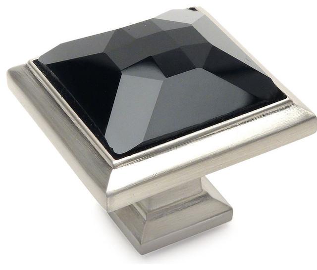 Cosmas Satin Nickel /& Clear Glass Square Cabinet Knob #6377SN-C