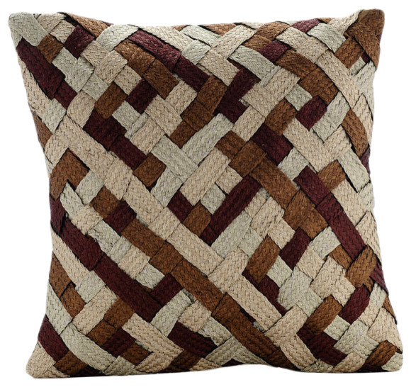 Sophisticated Weave, Gold Art Silk Pillow Covers ...
