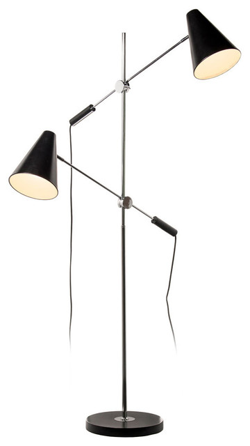 Dainolite 2-Light Floor Lamp, Metal Shades.