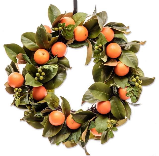 Orange Magnolia Wreath - Everyday Wreath (cw191).