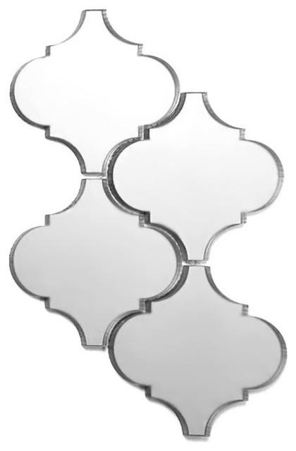"""9""""x14"""" Silver Lantern Echo Glass Mirror Wall Tile, Set of 10"""