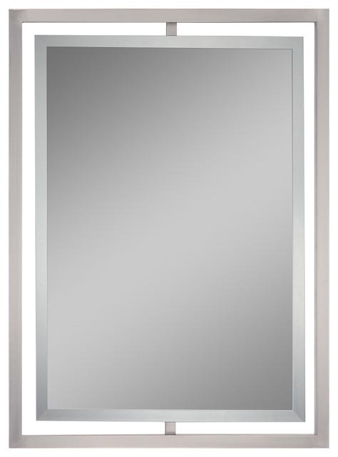Lighting Mirror, Brushed Nickel/semi Gloss, Small.