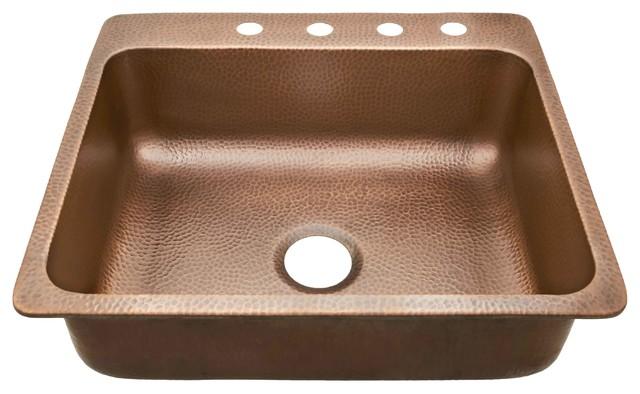 "Rosa 25"" Drop-In Copper Kitchen Sink, Antique Copper"