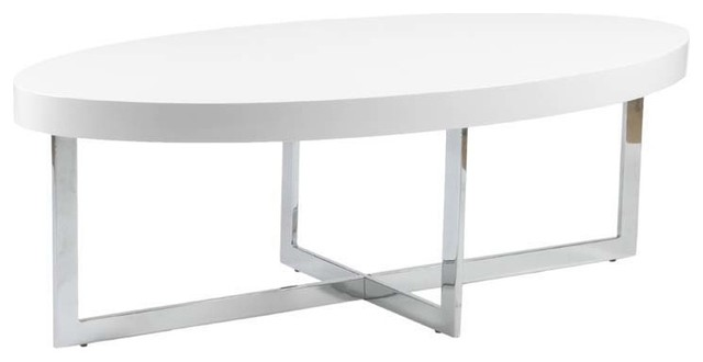 Eurostyle Oliver Oval Wood Top Coffee Table in White Lacquer   Chrome  contemporary coffee. Eurostyle Oliver Oval Wood Top Coffee Table in White Lacquer
