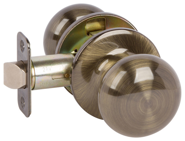 Callan Saxon Passage Knob Set, Antique Brass Contemporary Doorknobs