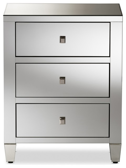 Mirrored Bedside Table With Drawers: Hollywood Regency Glamour Style Mirrored 3-Drawer