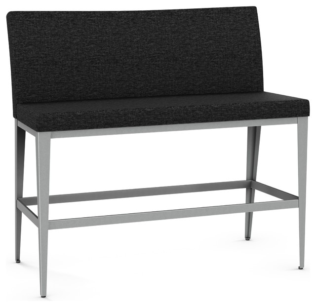 Swell Fabric Bench With Metal Frame Finish Bar Height Machost Co Dining Chair Design Ideas Machostcouk
