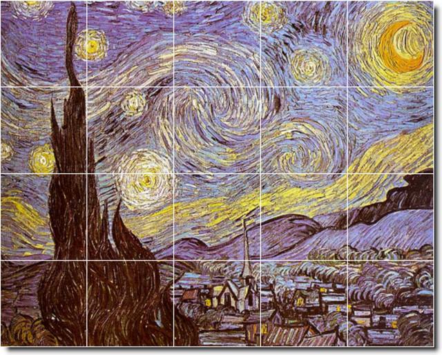 Vincent van gogh city painting ceramic tile mural 108 for Ceramic mural artists