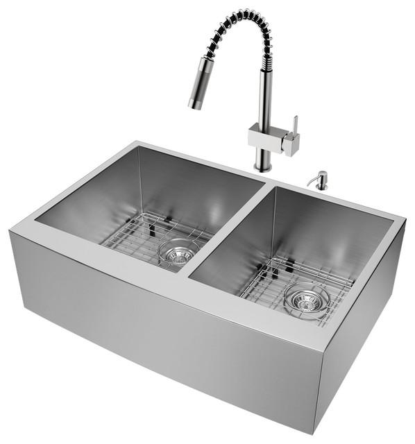 """Vigo All-In-One 33"""" Chisholm Double Bowl Farmhouse Kitchen Sink Set."""