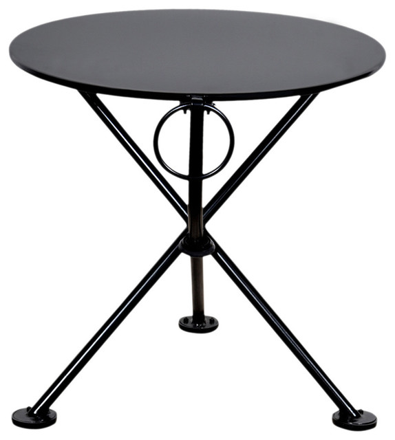 "french cafe bistro 3-leg folding coffee table, 20"" round metal top"