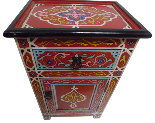 Handpainted Moroccan Moucharabi Design Nightstand In Red