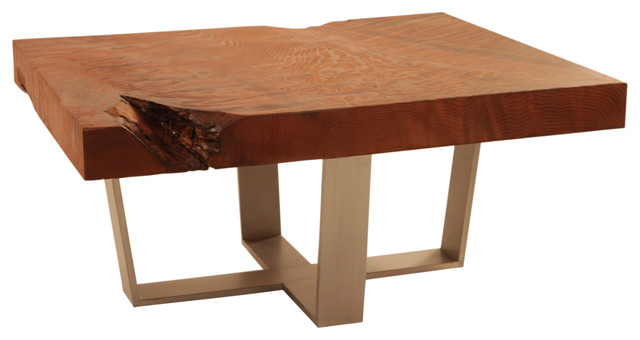 Redwood And Aluminum Base Coffee Table