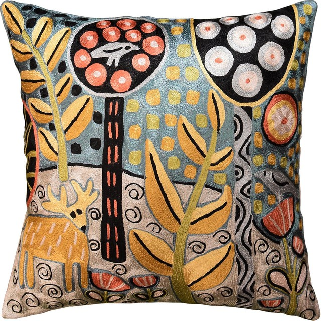 Deer And Bird Hand-Embroidered Accent Pillow Cover.