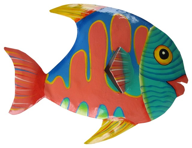 Pink And Green Small Mouth Tropical Fish Haitian Metal Wall Art Plaque 10