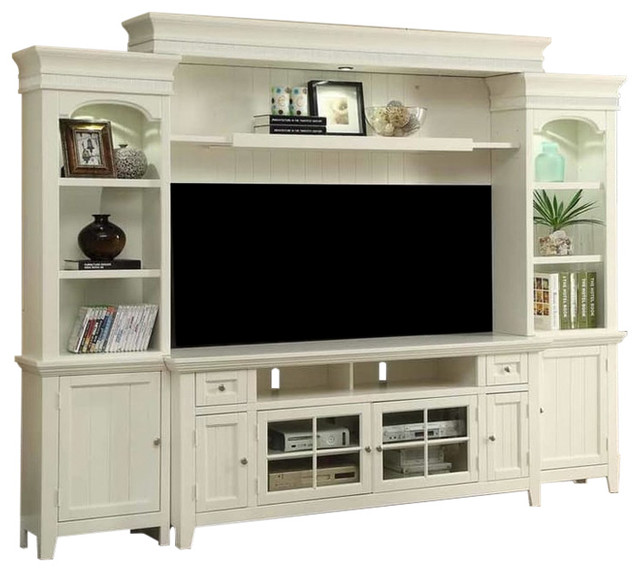 Tidewater Vintage Style White 72 Entertainment Wall